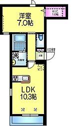 都営新宿線 本八幡駅 徒歩5分の賃貸マンション 1階1LDKの間取り