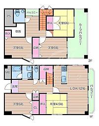 阪急千里線 千里山駅 徒歩21分の賃貸マンション 5階5LDKの間取り