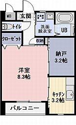 長野電鉄長野線 日野駅 徒歩13分の賃貸アパート 2階1SKの間取り