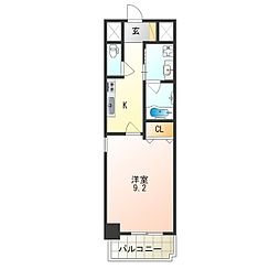 JR阪和線 津久野駅 徒歩7分の賃貸マンション 10階1Kの間取り