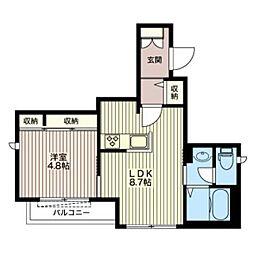 モノリス常磐松 2階1LDKの間取り