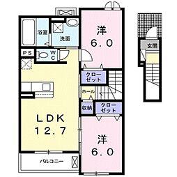 JR東海道本線 豊橋駅 バス32分 赤岩下車 徒歩5分の賃貸アパート 2階2LDKの間取り