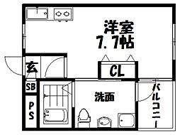 シャンテー宮之阪 1階1Kの間取り