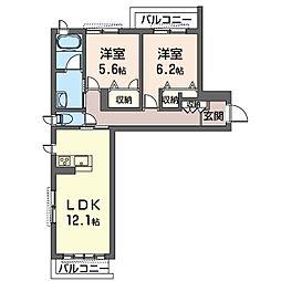 仮)中原区上小田中1丁目シャーメゾンA 2階2LDKの間取り
