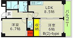 パームヒルズ 3階2LDKの間取り