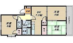 大阪府高石市西取石5丁目の賃貸アパートの間取り