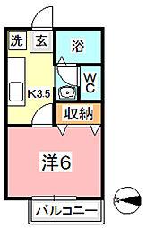 岡山県都窪郡早島町若宮の賃貸アパートの間取り