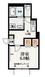 都営三田線 西巣鴨駅 徒歩6分の賃貸マンション 1階1Kの間取り