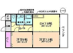 大阪府豊中市浜3丁目の賃貸マンションの間取り