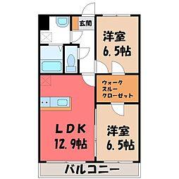 JR東北本線 雀宮駅 徒歩14分の賃貸マンション 4階2LDKの間取り
