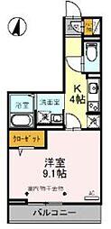 JR武蔵野線 吉川駅 徒歩4分の賃貸アパート 2階1Kの間取り