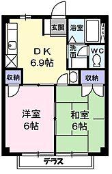 東京都青梅市長淵4丁目の賃貸アパートの間取り