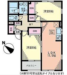 神奈川県横浜市青葉区荏田町の賃貸アパートの間取り