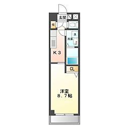 名鉄名古屋本線 矢作橋駅 徒歩32分の賃貸マンション 3階1Kの間取り