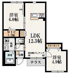 小田急小田原線 成城学園前駅 徒歩22分の賃貸マンション 1階2SLDKの間取り