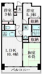 けやき通り南参番館 8階3LDKの間取り