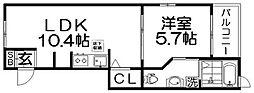 ルミエールハタ[1階]の間取り