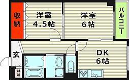 ナカノハイツパート5 3階2LDKの間取り