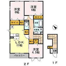 キルシッカ鎌倉 2階3LDKの間取り
