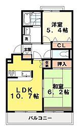 コンフォート大泉学園 1階2LDKの間取り