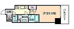 エグゼ北大阪 2階1Kの間取り