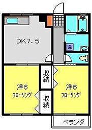 神奈川県横浜市港南区日野中央2丁目の賃貸アパートの間取り