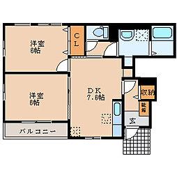 滋賀県長浜市高月町柏原の賃貸アパートの間取り