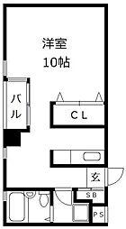 ウイングコート藤崎[201号室]の間取り