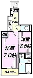 JR中央線 立川駅 バス22分 三本榎下車 徒歩5分の賃貸アパート 1階1Kの間取り
