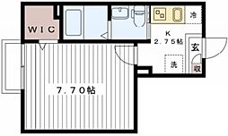 アーバンフォレスト新松戸 1階1Kの間取り