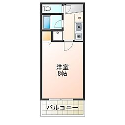 白鷺TKハイツ2号館 4階1Kの間取り