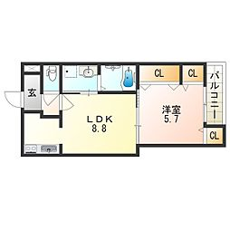 Osaka Metro御堂筋線 長居駅 徒歩9分の賃貸アパート 3階1LDKの間取り