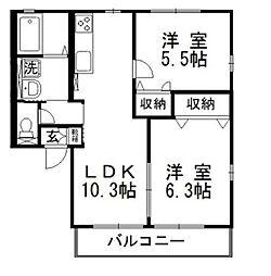 岡山県倉敷市玉島阿賀崎2丁目の賃貸アパートの間取り