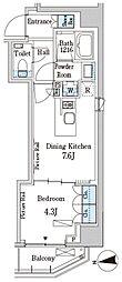 パークアクシス三番町 4階1DKの間取り