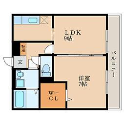 滋賀県栗東市綣10丁目の賃貸アパートの間取り
