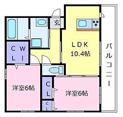 南海高野線 狭山駅 徒歩10分の賃貸マンション 2階2LDKの間取り