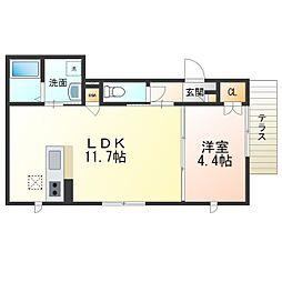 南海線 浜寺公園駅 徒歩6分の賃貸アパート 1階1LDKの間取り