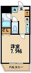 フェンテ多摩 2階1Kの間取り