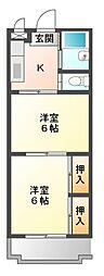 愛知県豊橋市つつじが丘3丁目の賃貸マンションの間取り