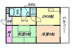 兵庫県川西市加茂2丁目の賃貸マンションの間取り