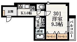 プラサート22 3階1Kの間取り