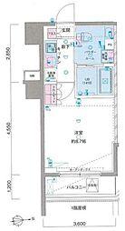 西武新宿線 鷺ノ宮駅 徒歩9分の賃貸マンション 6階1Kの間取り