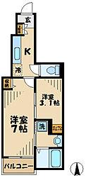 京王相模原線 京王堀之内駅 徒歩29分の賃貸アパート 1階1SKの間取り
