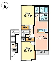フォンテーヌ B[2階]の間取り