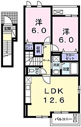 東京都あきる野市牛沼の賃貸アパートの間取り