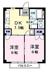 東京都青梅市梅郷1丁目の賃貸アパートの間取り