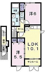 モデルノ ドマーニII 2階2LDKの間取り