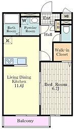 多摩都市モノレール 上北台駅 徒歩15分の賃貸アパート 1階1LDKの間取り