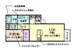 大阪府池田市石橋3丁目の賃貸アパートの間取り