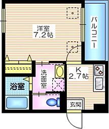 Sunny court横須賀中央 2階1Kの間取り